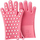 PINK Women's Heavy-Duty Heat Resistant 100% Silicone Oven Mitts, for Oven & Grills. Profits Will Benefit The National Breast Cancer Foundation (1 Pair, Size: XS/S - See below)