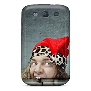 For Galaxy S3 Premium Tpu Case Cover Christmas Santa Claus Hungry Backgrounds Protective Case