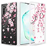 Caka Case for Galaxy Note 10 Clear Glitter Case Pink Cherry Blossom Flower Floral Pattern Flexible Soft Bling Shiny Women Girls Slim Flower Cover Phone Case for Samsung Galaxy Note 10 (Cherry Blossom)
