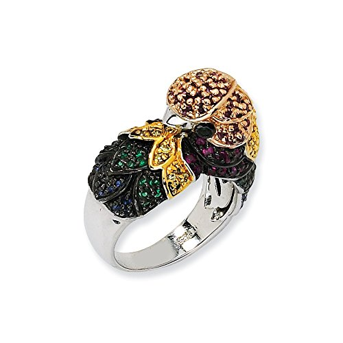 Perfect Jewelry Gift Sterling Silver CZ & Sim. Emerald Parrot Ring (Sim Emerald Ring)