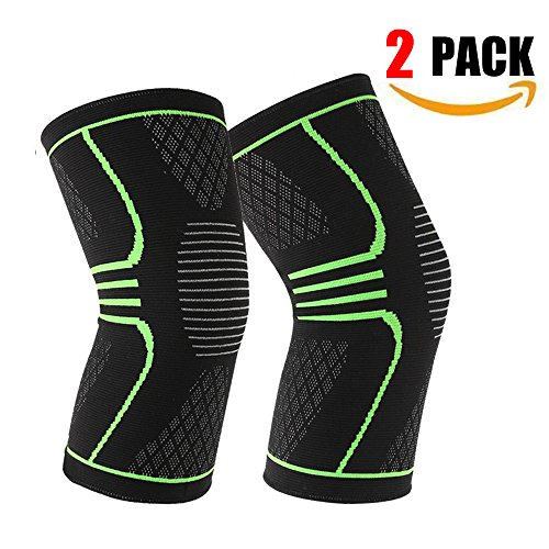 Joruby 2 Pack Knee Brace Knee Compression Sleeve Support for Sports, Running, ACL, Jogging, Basketball, Joint Pain Relief, Meniscus Tear, Arthritis and Injury Recovery, Knee Support for Men Women