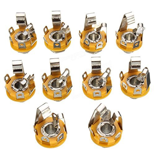 10 X 6.35mm TRS Microphone Audio Panel Seat 2 CH Stereo Female Socket ()