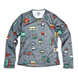 Hot Chillys Youth Pepper Skins Print Crewneck - Bots-Charcoal, LG