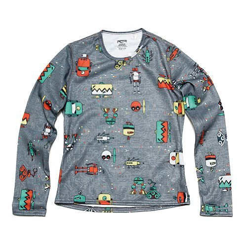 Hot Chillys Youth Pepper Skins Print Crewneck - Bots-Charcoal, LG by Hot Chillys