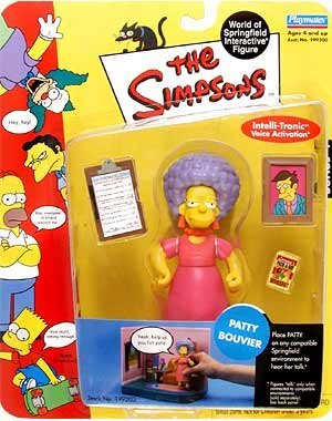 The Simpsons - 2001 - Playmates - Series 4 - Patty Bouvier Action Figure - w/ Accessories - Intelli-tronics Voice Activation - Out of Production - Limited Edition - Collectible]()