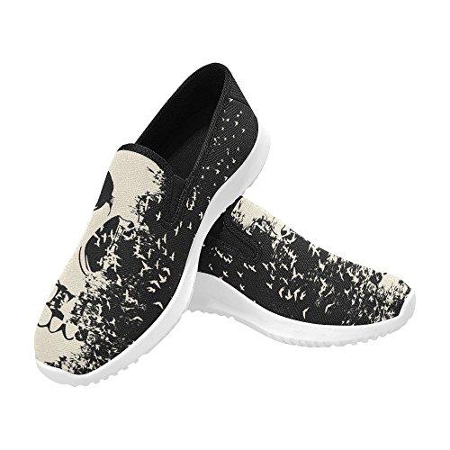 D-Story Shoes Zombie Eye Slip-On Womens Canvas Sneakers Skull 3 DWoi4EOF