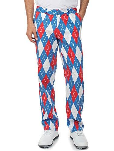 John Daly Golf Swing - Tipsy Elves Men's American Flag Argyle Golf Pants - USA Golf Pants: X-Large