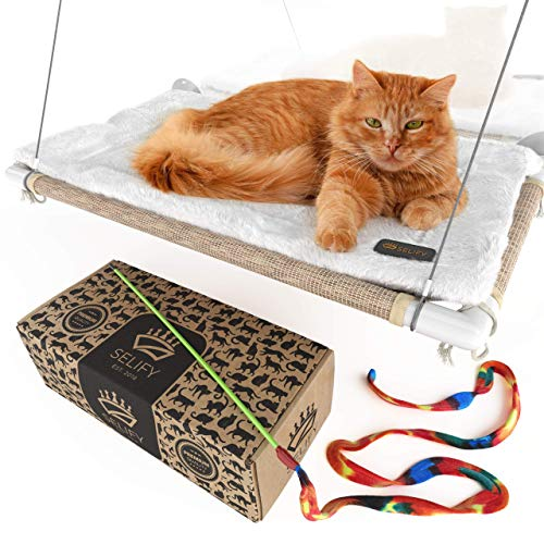 Cat Window Perch (Holds Up to 60 Lbs) - Strong, Durable Cat Perch Window Cat Bed - Custom-Engineered Suction Cups - Free Cat Window Hammock Cushion and Cat Toy - No Tools Required! (Cushions Bench Window Custom)