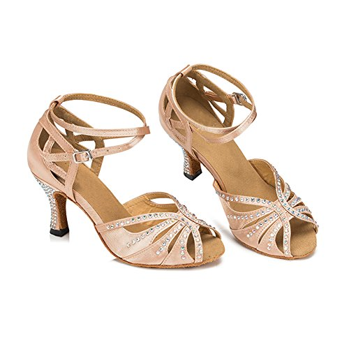 TTdancewear Frauen Strass Ballroom Dance Schuhe Latin Salsa Performance Tanzschuhe Nude-2,5inch Heels