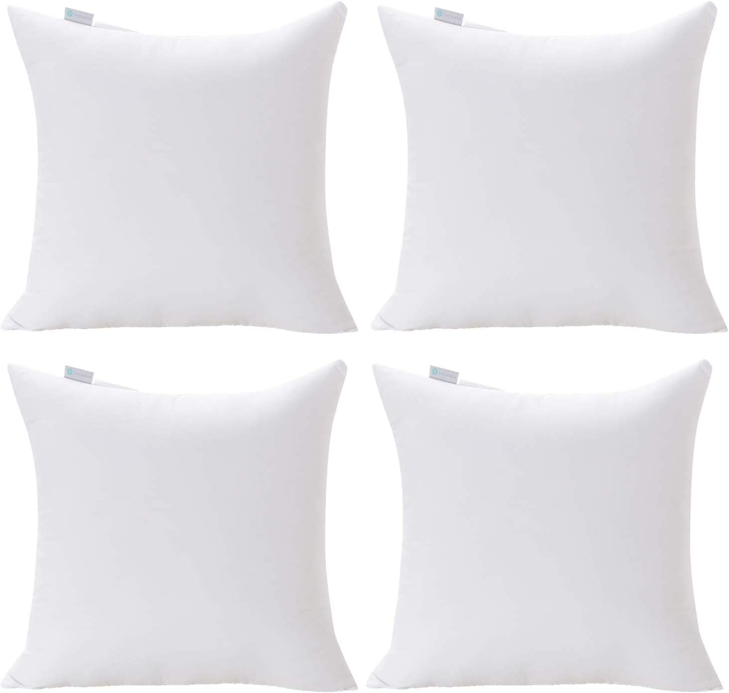 "Acanva 18 x 18 Premium Hypoallergenic Polyester Stuffer Square Form Sham Throw Pillow Inserts, 18""-4P, 2020 Newer Version"