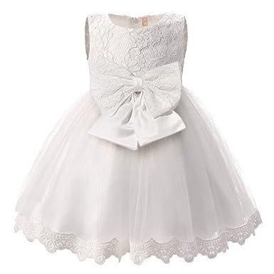 f8365718576 Happy Cherry Robe de Cérémonie Soirée Fille Enfant Robe Dentelle sans  Manche Robe de Princesse avec