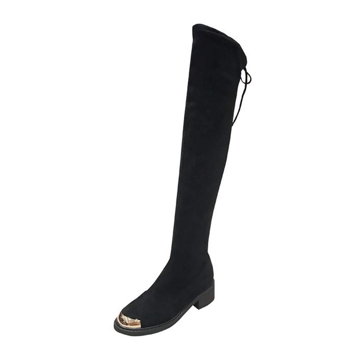 HBDLH Damenschuhe Elastizität Dünn Stiefel Heel Flachen 4Cm Dicke Schuhe Knielangen Stiefeln Flachen Heel Boden Stiefel 569e79