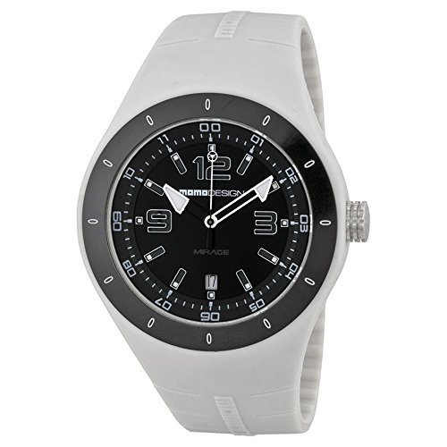 Momo Design Mirage Black Dial White Silicone Mens Watch MD4006GL-21
