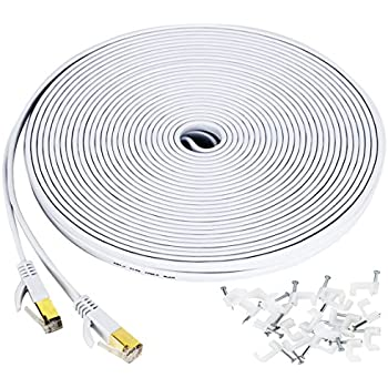 Cat 7 ethernet cable 100 ft, Wireless Outdoor Networking Patch cable with clips,Supports Cat6/Cat6a/Cat5 with Gold Plated RJ45 Connectors for Gaming,MAC ...