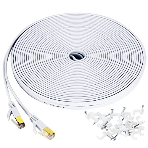Extension Cat5 Kit (Cat 7 ethernet cable 100 ft, Wireless Outdoor Networking Patch cable with clips,Supports Cat6/Cat6a/Cat5 with Gold Plated RJ45 Connectors for Gaming,MAC,Desktop,ADSL,LAN-White)