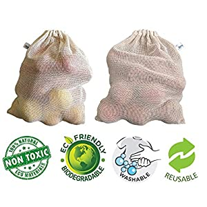 Arka Home Products 100% Cotton Net Bags for Vegetables and Fruits Storage Eco-Friendly, Non-Toxic, Washable, Reusable…