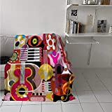 maisi Music Weave Pattern Extra Long Blanket Complex Graphic with Various Musical Properties Icons Keyboard Festival Piano Design Custom Design Cozy Flannel Blanket 80x60 Inch Multicolor