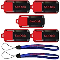 SanDisk Cruzer Switch 16 GB (5 Pack) USB Flash Drive SDCZ52-016G-B35-5PK w/ (2) Everything But Stromboli (TM) Lanyard