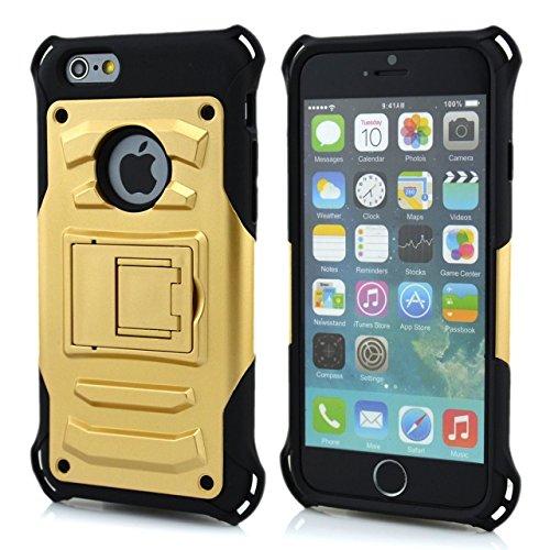 iPhone 6S Case,iPhone 6 cas, Lantier cool série, 2 en 1 combo hybride Defender High Impact Cover Case Body Armor avec béquille pour Apple iphone 6 / 6S or