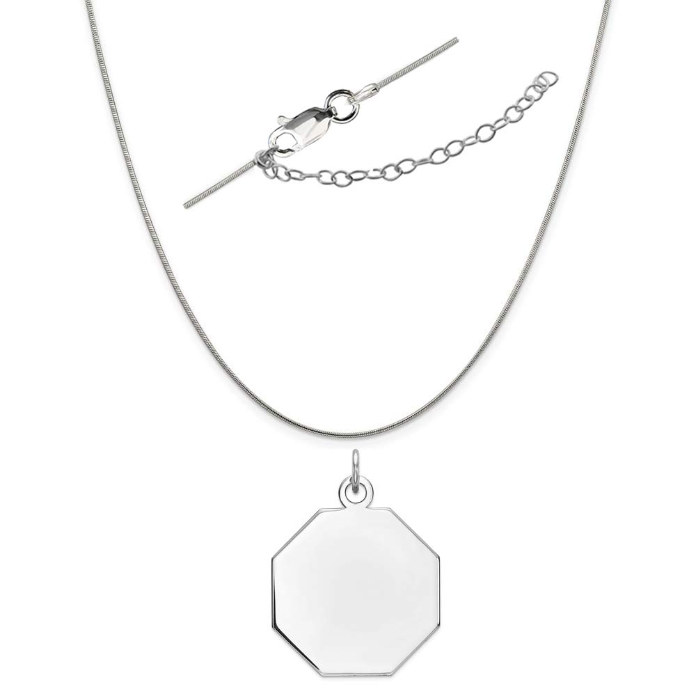 Sterling Silver Anti-Tarnish Treated Engraveable Octagon Polished Front Satin Back Disc Necklace