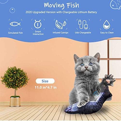 Juguete eléctrico para gato con diseño de pez que baila con sensor de movimiento 2