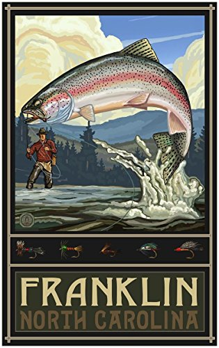 Franklin North Carolina Rainbow Trout Fisherman Hills Travel Art Print Poster by Paul A. Lanquist (30