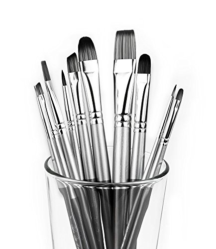 Adi's Art Pro Paint Brushes Set for Acrylic Oil Watercolor, Artist Face and Body Professional Painting Kits with Synthetic Nylon Tips, 10 Pieces - Gray -