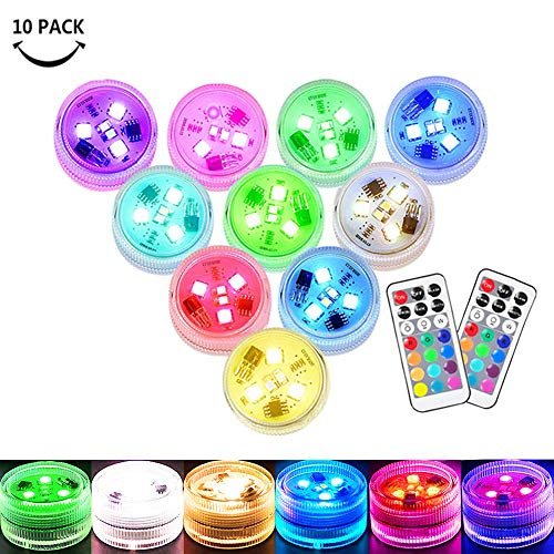 Small Submersible LED Lights Mini Waterproof LED Tea Lights Candles Multi-color Battery Powered with Remote Control Party Events Home Vase Swimming Pool Pond Decoration Lighting -