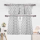 3 Pieces Kitchen Curtains Set Moroccan Cotton Blend Kitchen Cafe Tier Curtains and Valance Geometric Printed Print Rod Pocket Small Window Curtain for Bathroom Grey (Set of 2 Panels 24' L Tiers)