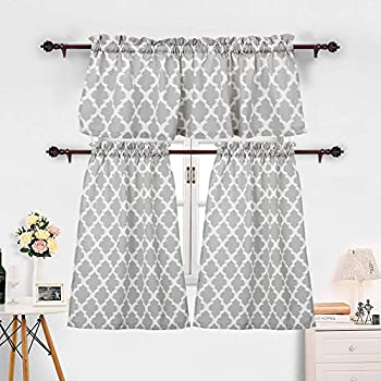 Haperlare 3 Pieces Moroccan Kitchen Window Curtain Set, Kitchen Tier  Curtains And Valance Set For Cafe ...