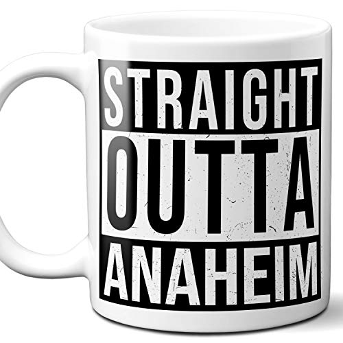 Straight Outta Anaheim Souvenir Gift Mug. I Love City Town USA Lover Coffee Unique Tea Cup Men Women Birthday Mothers Day Fathers Day Christmas. 11 oz. ()