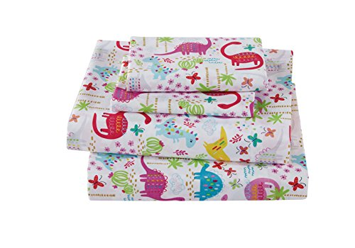 Fancy Collection girls 3pc Crib Sheet Set Dinosaur Pink Purple Turquoise Lime Green # Dinosaur ()