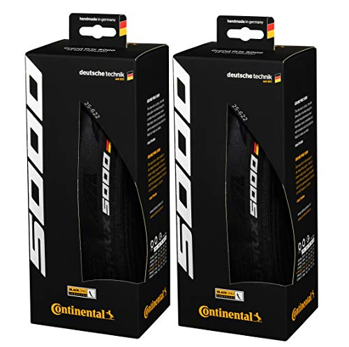 Continental Grand Prix 5000 Black-BW+Black Chili 700X25 Set of 2 Tires