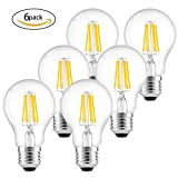 Dimmable Edison LED Bulb 6 Pack, Vintage LED Filament Light Bulb, 6W=60W Incandescent, 2700K Warm White, E27 Antique Edison Screw Clear Filament Light Bulb