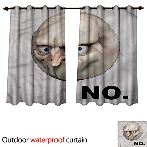 cobeDecor Humor Outdoor Curtains for Patio Sheer Rage Emotion Comics W55 x L72(140cm x 183cm)