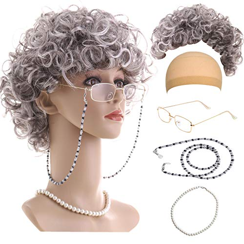 Feacole Old Lady Costume Set-Grandmother Wig,Wig Caps,Madea Granny Glasses, Eyeglass Retainer Chain,Pearl Necklace(5 Pieces) Fits All, Style-1]()