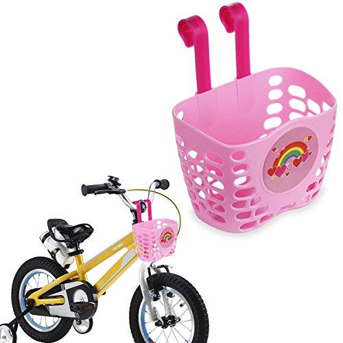 Mini-Factory Kids Bike Basket Pink Cute Love Rainbow Pattern Bicycle Handlebar Basket for Girls