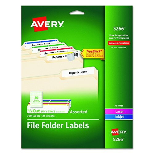 Filing Label Template (Avery File Folder Labels in Assorted Colors for Laser and Inkjet Printers with TrueBlock Technology, 0.67 x 3.43 Inches, Pack of 750  (5266)(Packaging May Vary))