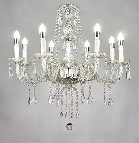 Top Lighting 8-Light Classic Style Chrome Finish Crystal Chandelier Pendant Hanging Ceiling Lighting W28″