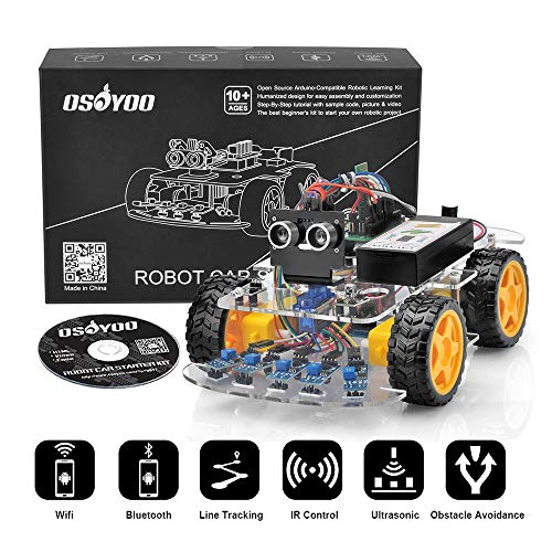 OSOYOO Robot Car Starter Kit for Arduino UNO Smart WiFi IOT Bluetooth APP STEM Toys Gifts for Kids Teens