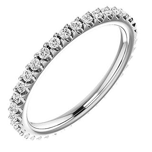 KING OF JEWELRY Natural, Not Enhanced Eternity Wedding Band Diamond Ring F-G Color, VS1-VS2 Clarity with Proof of Authentication and Appraisal (platinum, 0.50)