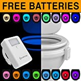Toilet Light Night [FREE BATTERIES INCLUDED] Toilit Light Motion Activated LED Light Changing Tolet Bowl Nightlight for Bathroom Perfect Decorating Combination along with Water Toilite Light