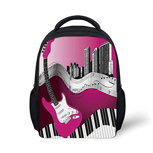 Music Stylish Backpack,Bass Guitar Keyboard Urban Rock Backdrop Rhythm of City Illustration for School Travel,9.4