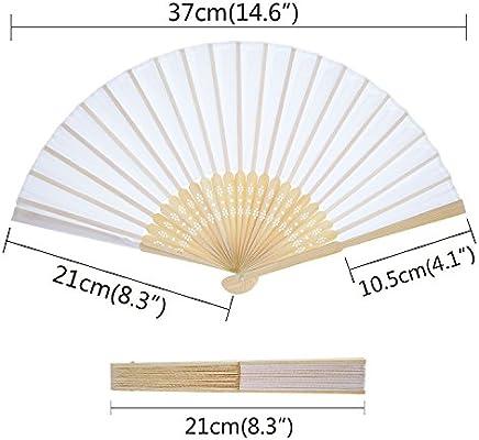 Yellodoor Abanicos de mano de seda de bambú plegables para regalo ...