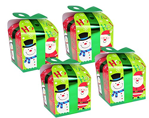 Ornament Gift Boxes - 8 Christmas Gift Boxes/Gable - Best for Small Gifts,Party Favors & Goody Bags With Bow For Treats, Snacks, Baked Goods, Candy or Chocolate Santa, Snowman and Reindeer Designs (Santa and Friends)