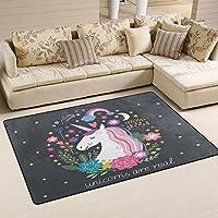 LORVIES Unicorn Area Rug Carpet Non-Slip Floor Mat Doormats for Living Room Bedroom 31 x 20 inches