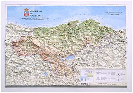 Mapa De Asturias Y Cantabria Juntos.Mapa En Relieve De Cantabria Escala 1 400 000 Amazon Es