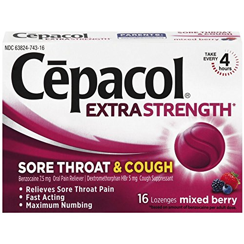 Cepacol Maximum Strength Throat and Cough Drop Lozenges, Mixed Berry, 16 Count (Pack of 2)