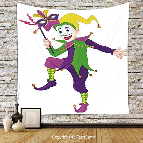 Tapestry Wall Hanging Cartoon Style Jester in Iconic Costume with Mask Happy Dancing Party Figure Tapestries Dorm Living Room Bedroom(W39xL59)]()