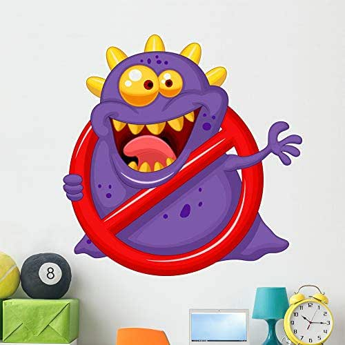 Wallmonkeys Purple Virus Red Alert Wall Decal Peel and Stick Animal Graphics (48 in H x 48 in W) WM62065